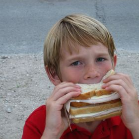 mr kenny  having a sandwich