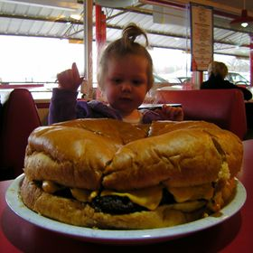 This is the largest burger sold in Arkansas, the Giant Cheeseburger at Ed Walker's in Fort Smith.