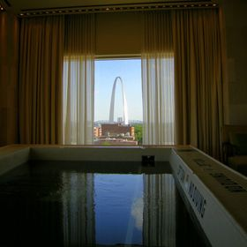 Window in the spa at the Four Seasons Saint Louis, featuring the Gateway Arch