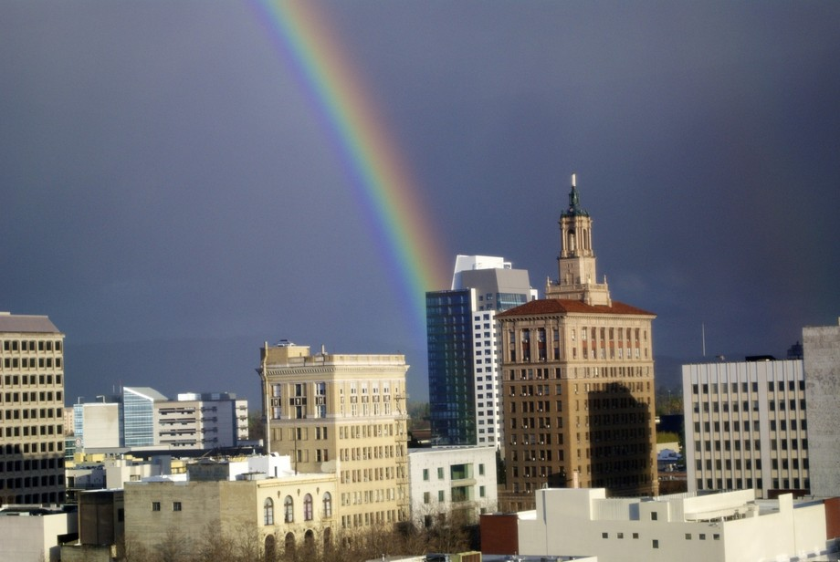 A rainbow in downtown San Jose, CA