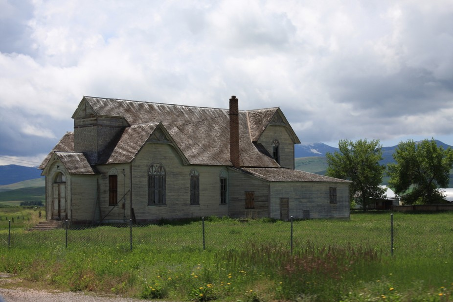A former LDS ward building, now privately owned, in Ovid, Idaho