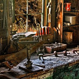 I discovered this old workbench inside a rustic, and rather dark barn in Plymouth Notch, Vermont and shot with available light. I also tried fill...