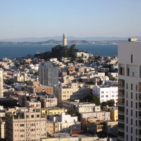 A view over the hotel district from the top of the St Francis Hotel in San Francisco
