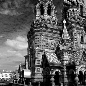 I shot this Black & White of the famous Russian Orthodox Church of Spilled Blood in Saint Petersburg, Russia as it looked like a storm brewing. P...
