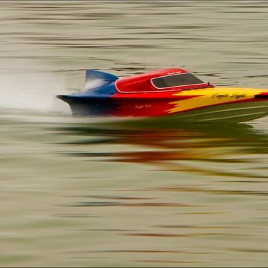 a colourful speed boat
