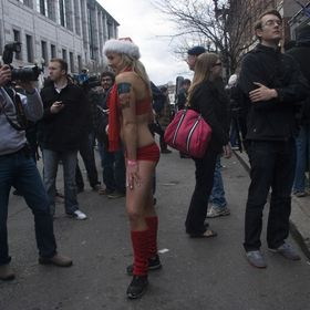Taken at the Christmas Speedo Run. Hundreds of participants do a 1 mile run down the streets of Boston for charity.