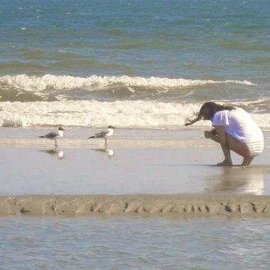 My daughter trying to coach the birds a little closer at the beach.