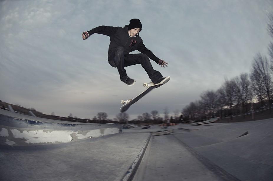 D Jay skateboarding in Toronto