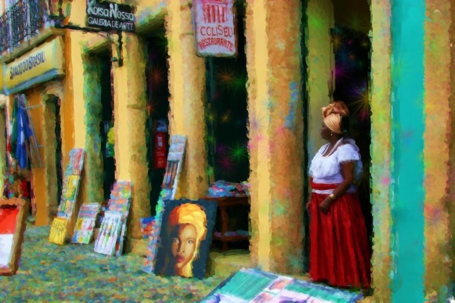 la artista en la calle Brasil