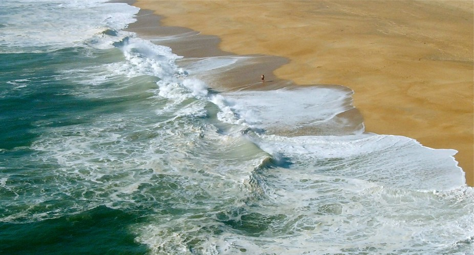 Taken from above the beach is Northern Beach, Nazare, Portugal