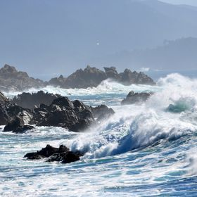 Waves along the 17 Mile Drive south of Monterey California