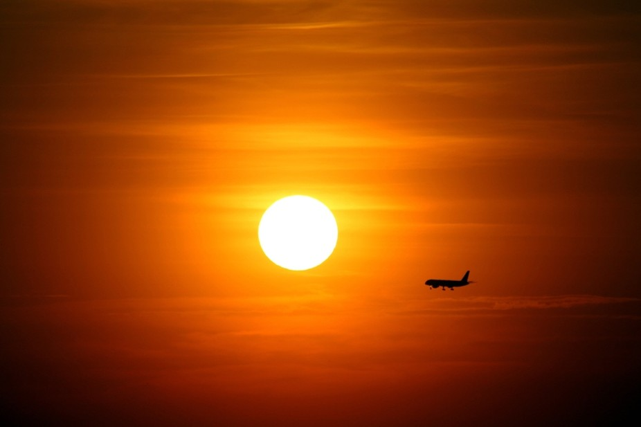 sunset, Airplanes,colors