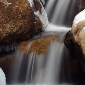 Icy waterfalls of the Alluvial Fan in Rocky Mountain National Park, Colorado.