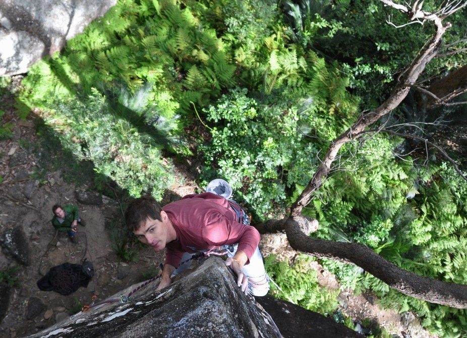 One of the first routes at Nowra and still proving a great trip. The perfect arete of Broken And ...