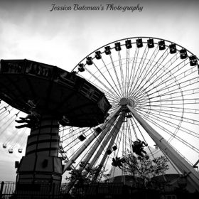Navy Pier, Chicago. A couple rides I found there. Great picture for black and white!