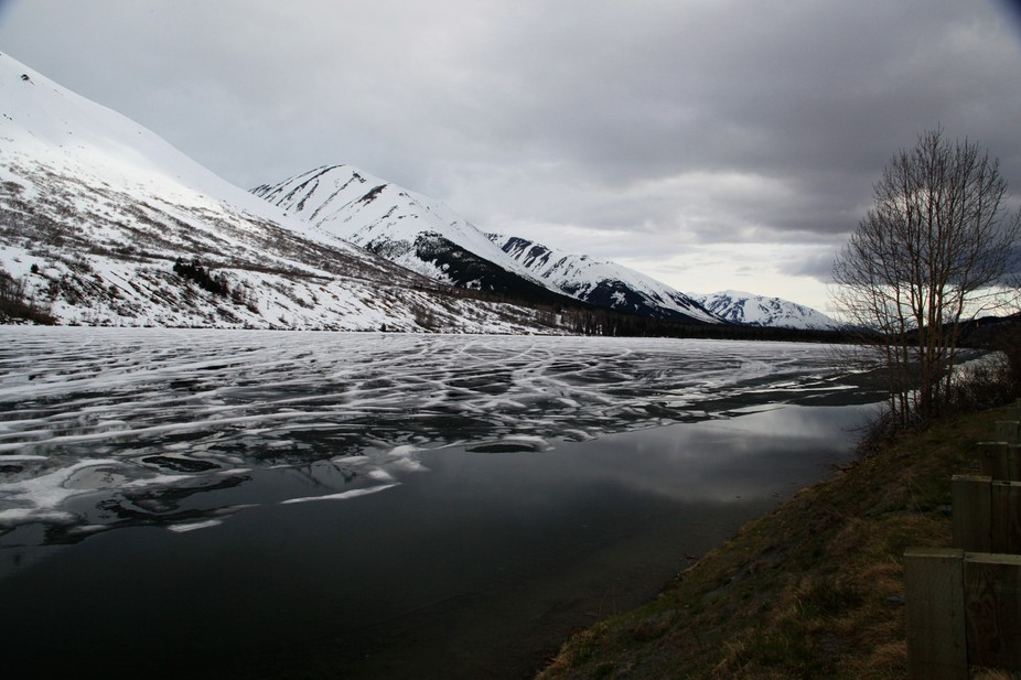 This photo was taken 3 weeks into May and the waters are still frozen. I believe this place only ...