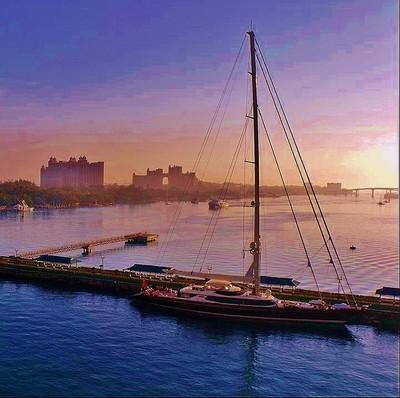 Yacht at dawn in the Bahamas