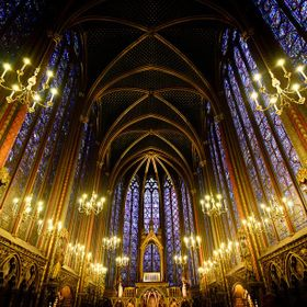 Looking at the wonderful blue and gold within St. Chapelle is breathtaking. The contrast of the blue of the stained glass with the gold accents a...