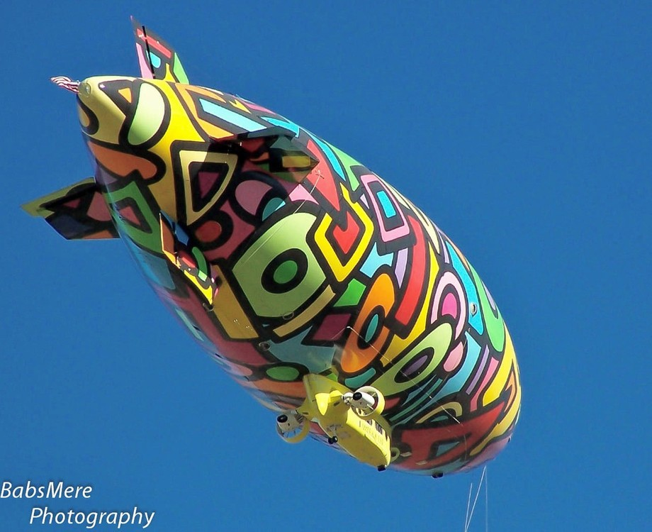 Patchwork Blimp flying overhead..