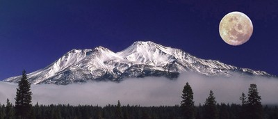 Mt Shasta with moon