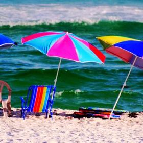 Chairs and umbrellas at Pensicola Beach, Florida.