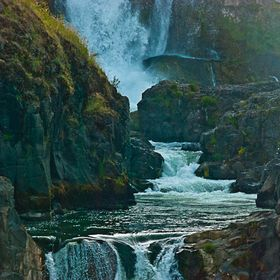 I hope this image isn't too dark? White River Waterfall located South of The Dalles, OR on the White River a few miles before it joins the Deschu...