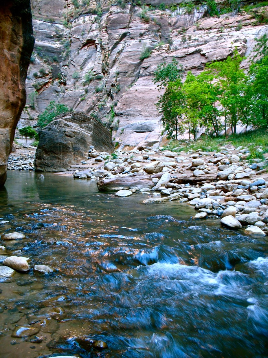 Hiking into The Narrows, Zion National Park, Utah