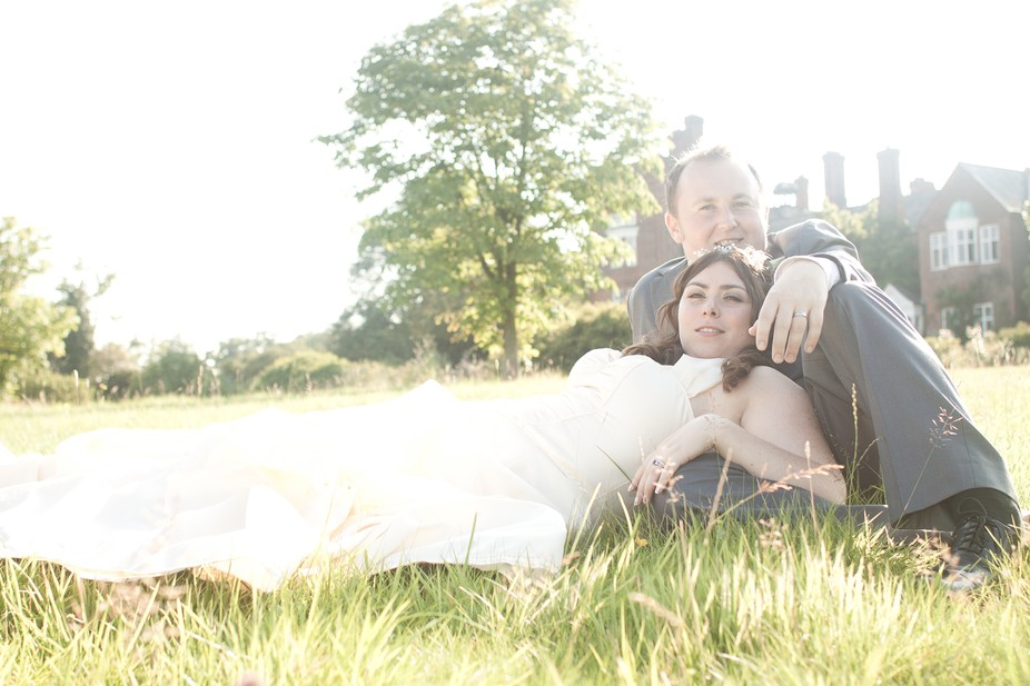 Wedding photo from the gardens of a grand country house