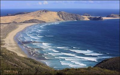 Marie Cape Van Deimon and Te Werahi Beach seen from Cape Reinga, NZ