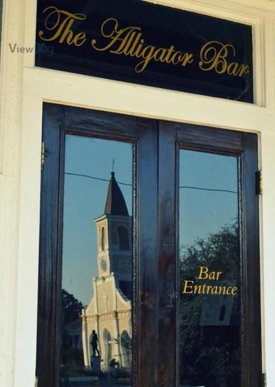 church in bar window