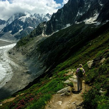 The Mer de Glace is a glacier below Mont Blanc. It is surrounded by stunning mountain scenery.