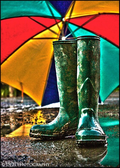 HDR Wellies & brolly