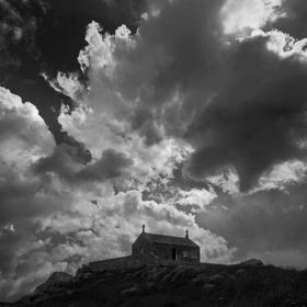 Shot of a chapel above St Ives, Cornwall.