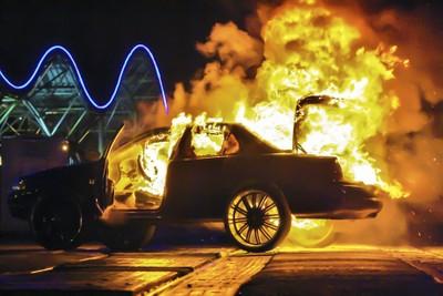 car fire mayhem