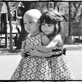 My identical twin nieces. Bella was diagnosed with Leukemia at age 2 & when she eventually lost her hair, Yasmeen was always there to remind her ...