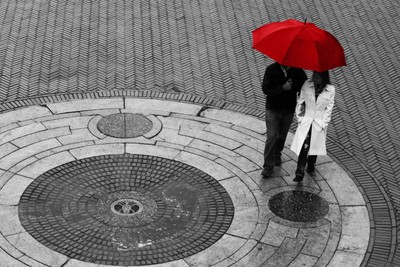 Couple with Red Umbrella