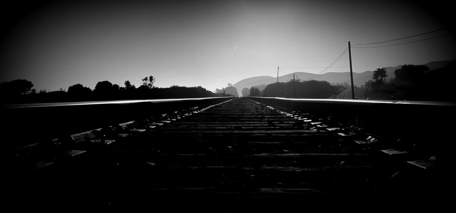 At the end of the day, train tracks along Pacific Coast Hwy, California