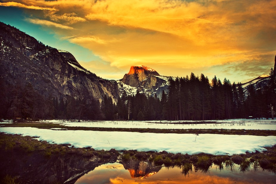 Reflection of Half Dome in the Yosemite Valley on a very frigid February evening.