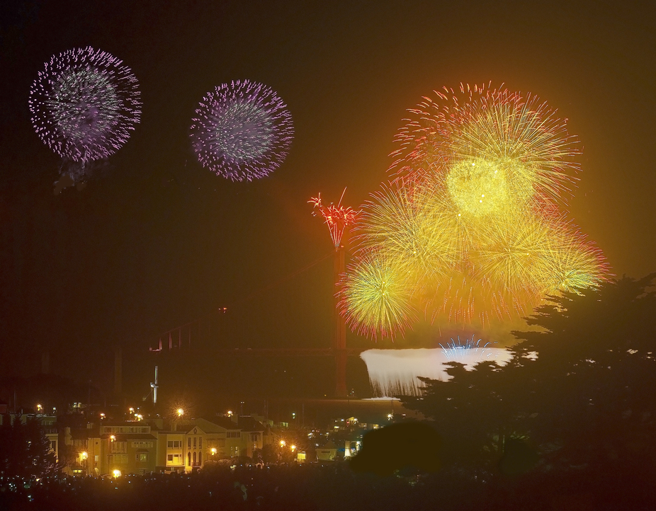 USA-San Francisco-Willis Zhoe-Golden Gate Bridge 75th annivasary fireworks.