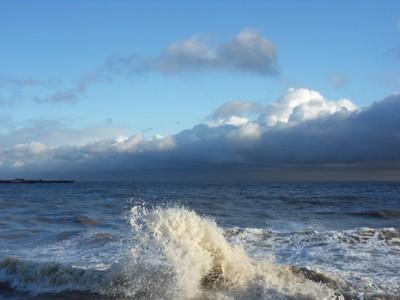 A splash on the shore.