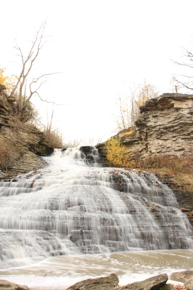 First attempt at a waterfall shot, but forgot my tripod. This is located in Grimbsy, ON