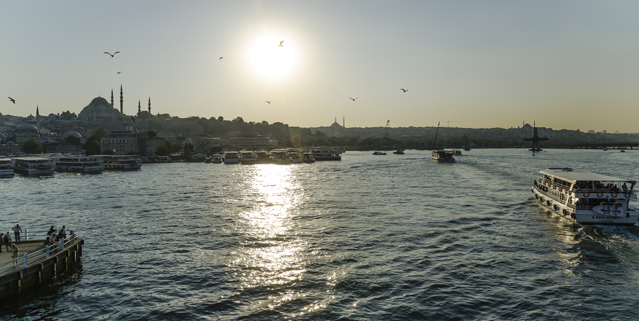cityscape in Istanbul, Turkey, from the Galata-bridge on the Bosphorus river