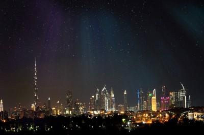 Dubai with Aurora Borialis