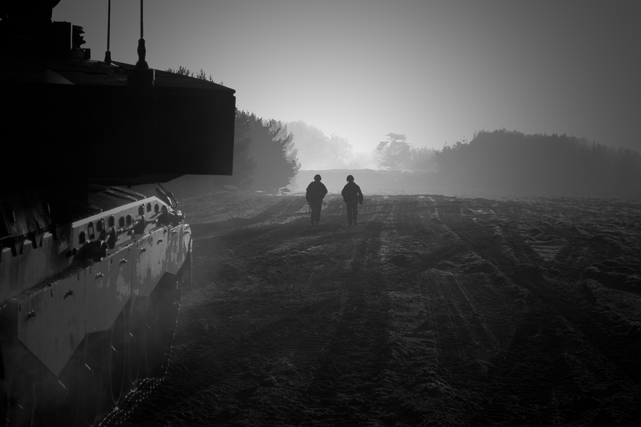 two soldiers on a morning patrol