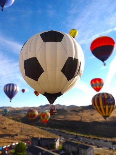 Playing soccer in the sky
