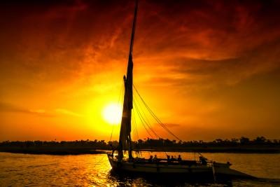 Sailing along the river Nile