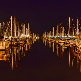 A long exposure shot of the Santa Barbara marina.