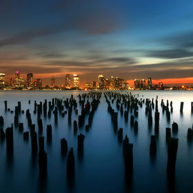 Long exposure sunset looking across the hudson river towards NJ