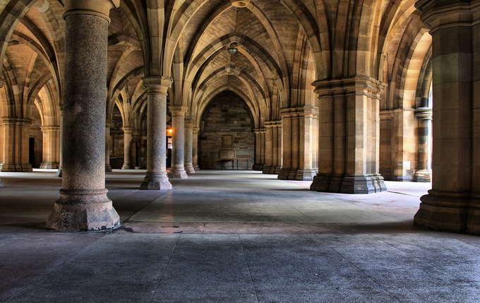 Pillars and arches underneath Glasgow University by pauldmessenger - High Ceilings Photo Contest