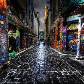 Looking down this graffiti filled alley way toward Federation Square in Melbourne Australia.